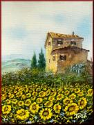 Tuscan Sunset Paintings - Sunflowers field by Luciano Torsi