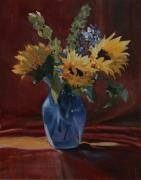 Blue Vase Painting Posters - Sunflowers for Susan Poster by Sandra Quintus