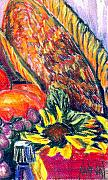 Basket Pastels Prints - Sunflowers Fruit and Picnic Basket Print by Jeffrey Carnal
