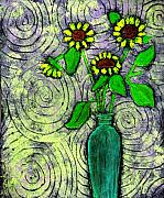 Spirals Posters - Sunflowers in a Green Vase Poster by Wayne Potrafka