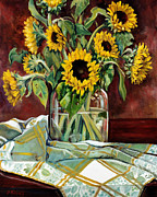 Sunflowers Paintings - Sunflowers in a Jar by Sheila Kinsey