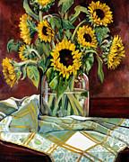 Sunflowers In A Jar Print by Sheila Kinsey