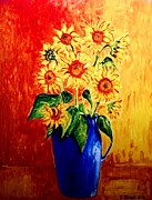Carolinestreet Posters - Sunflowers in Blue Vase Poster by Caroline Street