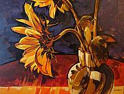 Abstract Realist Landscape Art - Sunflowers in Italian Vase Take Two by Tim  Heimdal