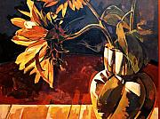 Abstract Realist Landscape Art - Sunflowers in Italian Vase by Tim  Heimdal