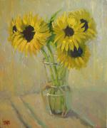 Robert Lewis Prints - Sunflowers in the Studio Print by Robert Lewis