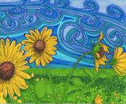 Texas Drawings - Sunflowers in the Wind by Will Stevenson