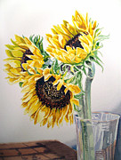 Christmas Greeting Painting Framed Prints - Sunflowers Framed Print by Irina Sztukowski
