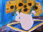 Primitive Drawings - Sunflowers Ironstone and Lace by Mary Carol Williams