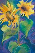 Flowers Pastels Posters - Sunflowers ll Poster by Kate Bedell