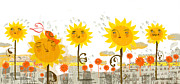 Barcelona Digital Art Framed Prints - Sunflowers Framed Print by Luciano Lozano