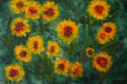 Field Of Sunflowers Paintings - Sunflowers by Lynne Reichhart
