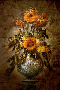 Decaying Digital Art Prints - Sunflowers Print by Marc Huebner
