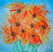 Orange Flowers Reliefs Prints - Sunflowers Print by Marie Halter