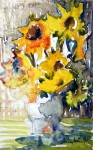 Botanical Mixed Media Prints - Sunflowers Print by Mindy Newman