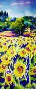 Therese Fowler-bailey Prints - Sunflowers of Tuscany  Sold original Prints available Print by Therese Fowler-Bailey