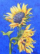 Florals Paintings - Sunflowers on Blue by Frances Evans