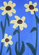Jeannie Atwater Painting Originals - Sunflowers on Blue by Jeannie Atwater Jordan Allen