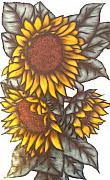 Sunflowers Glass Art - Sunflowers on glass by Justyna Pastuszka
