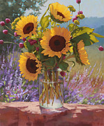 Still Life Pastels Prints - Sunflowers on the Rock Wall Print by Sarah Blumenschein