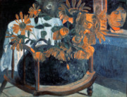 Paul Gauguin Framed Prints - Sunflowers Framed Print by Paul Gauguin