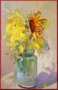 Italian Landscapes Paintings - Sunflowers by Pelagatti