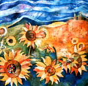 Sun Tapestries - Textiles Originals - Sunflowers by Sandra Kern