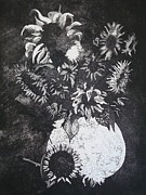 Black-and-white Reliefs Prints - Sunflowers Print by Sonja Guard