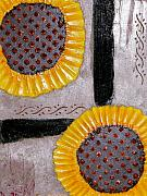Texture Flower Reliefs Prints - Sunflowers Print by Terry Honstead