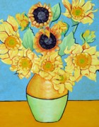 Sunflower Paintings - Sunflowers Tribute to Vincent van Gogh II by Christine Belt