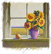 Window Pastels Framed Prints - Sunflowers Framed Print by Valerian Ruppert