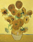 Vase Paintings - Sunflowers by Vincent Van Gogh