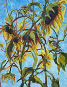 Meadowlark Paintings - Sunflowers with Meadolark by Susan Bell
