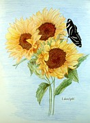 Cards Vintage Drawings Framed Prints - Sunflowers with zebra butterfly Framed Print by Linda Ginn