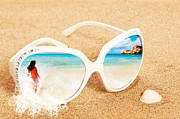 Sunglasses Framed Prints - Sunglasses In The Sand Framed Print by Christopher and Amanda Elwell