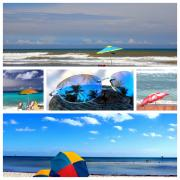 Beach Umbrella Posters - Sunglasses needed in Paradise Poster by Susanne Van Hulst