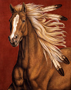 Native American Posters - Sunhorse Poster by Pat Erickson