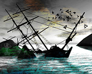 Ship Mixed Media Posters - Sunk Poster by Monroe Snook