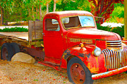 Rusted Prints - Sunken Red Truck Print by Holly Blunkall