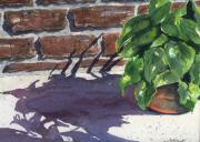 Brick Patio Posters - Sunlight and Shadows Poster by Marsha Elliott