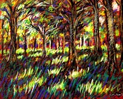 Greeting Cards Pastels Prints - Sunlight Through The Trees Print by John  Nolan