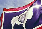 Western Photos - Sunlight Through the Wyoming State Flag by Nena Trapp