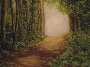 Irish Artists Painting Originals - sunlight Walk by Robert Gary Chestnutt