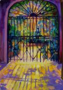 Vieux Carre Painting Originals - Sunlit Courtyard New Orleans by Saundra Bolen Samuel