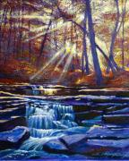 Autumn Trees Painting Posters - Sunlit Falls Poster by David Lloyd Glover