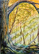 Yellows Mixed Media Framed Prints - Sunlit Forest Framed Print by Lee Nixon