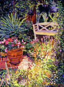 Brick Patio Posters - Sunlit Garden Patio Poster by David Lloyd Glover