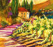 Therese Fowler-bailey Prints - Sunlit GrapeVines  SOLD Print by Therese Fowler-Bailey