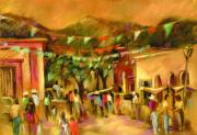 Mexico Pastels Posters - Sunlit Market Poster by Joan  Jones