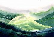 Sunlit Mountain Print by Anil Nene